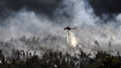 A helicopter dropping water on a forest fisre